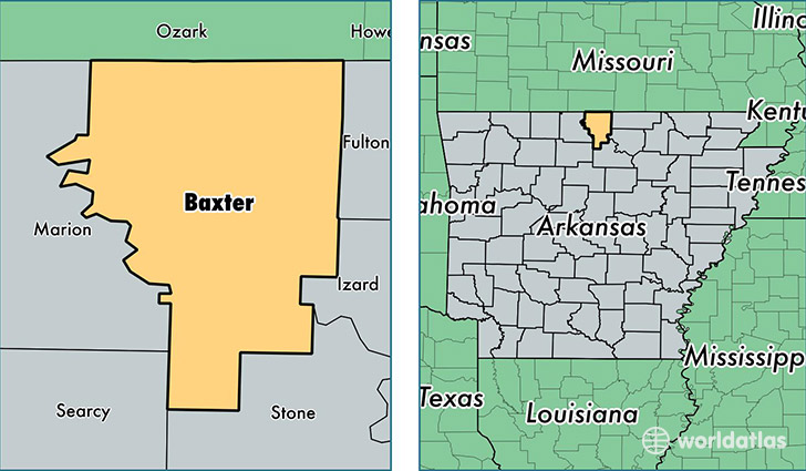 location of Baxter county on a map