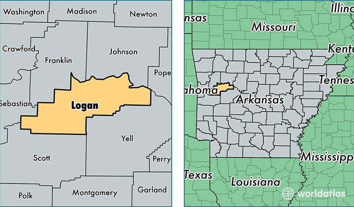location of Logan county on a map