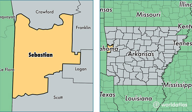 location of Sebastian county on a map