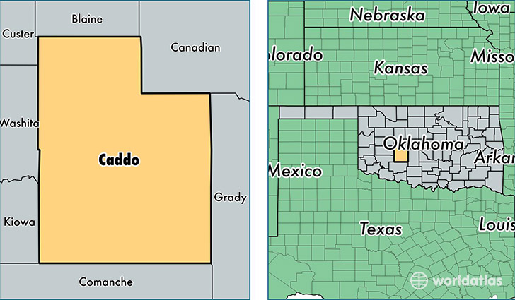 location of Caddo county on a map