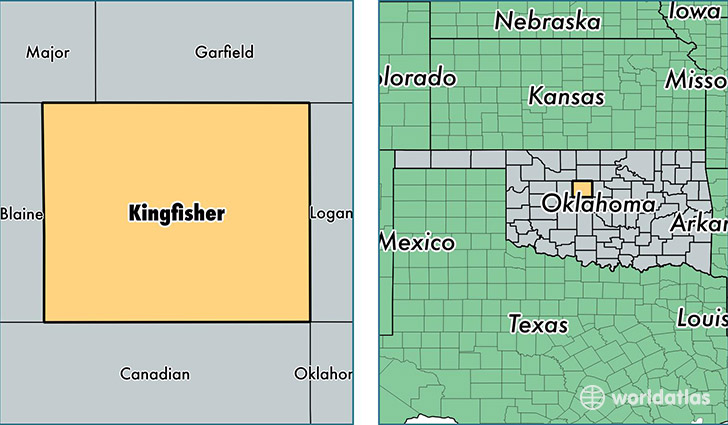 location of Kingfisher county on a map