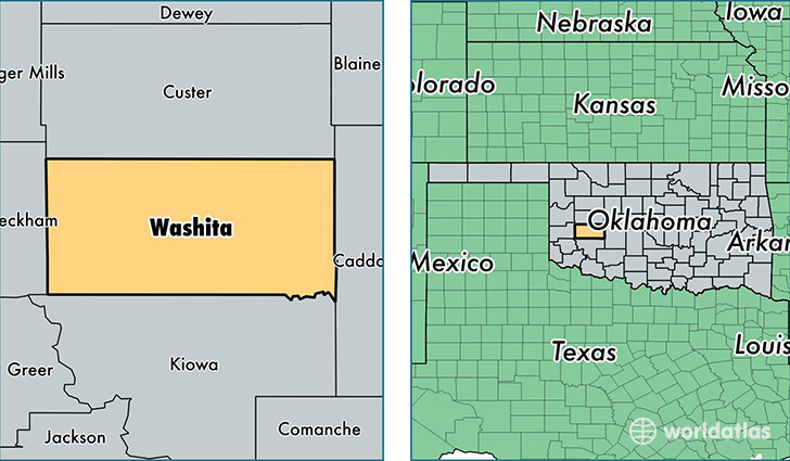 location of Washita county on a map