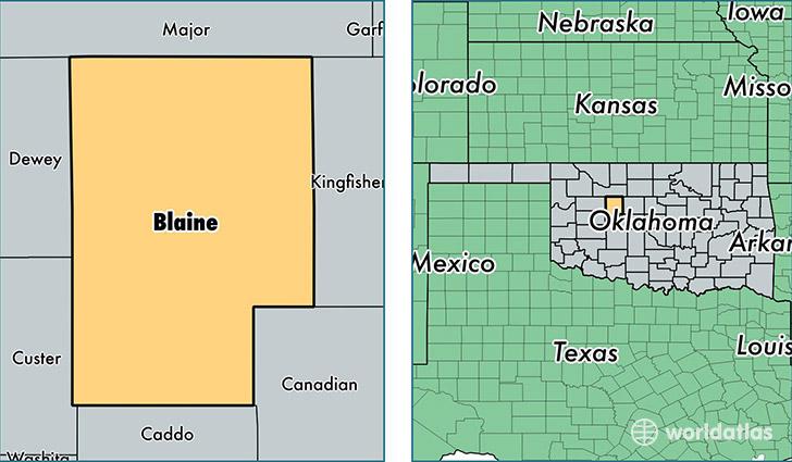 Kingfisher County Oklahoma Map.Blaine County Oklahoma Map Of Blaine County Ok Where Is Blaine