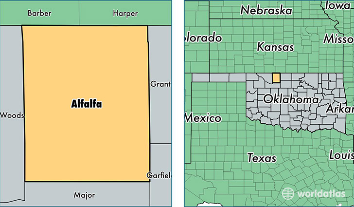 location of Alfalfa county on a map