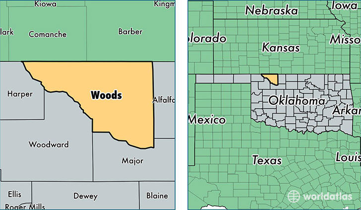 location of Woods county on a map