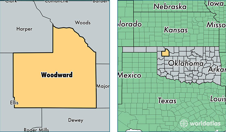 location of Woodward county on a map