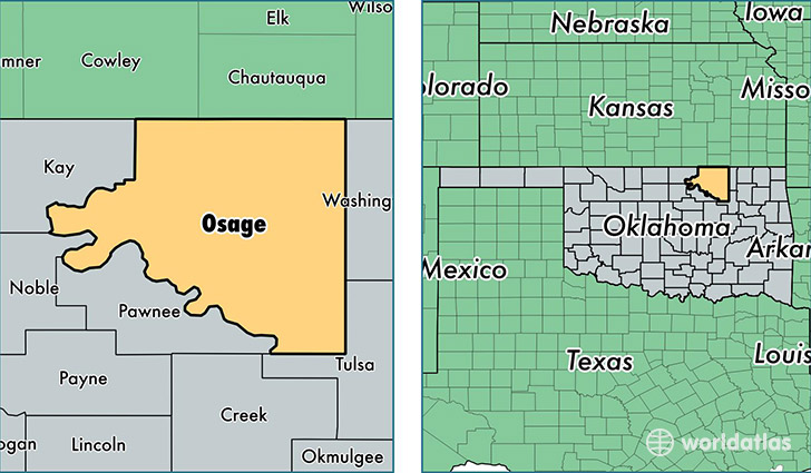 Osage County Oklahoma Map Of Osage County OK Where Is Osage - Counties of oklahoma map