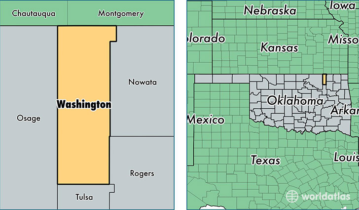 Washington County Oklahoma Map Of Washington County OK Where - Counties of oklahoma map