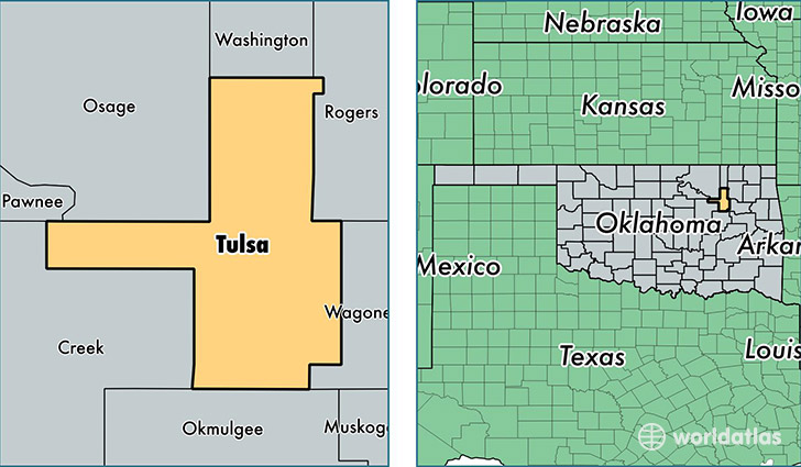 location of Tulsa county on a map