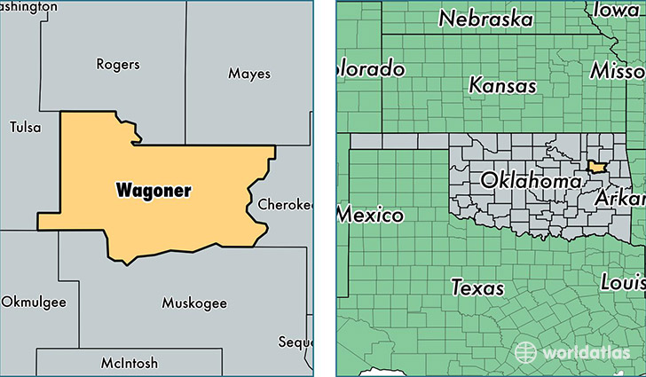 location of Wagoner county on a map