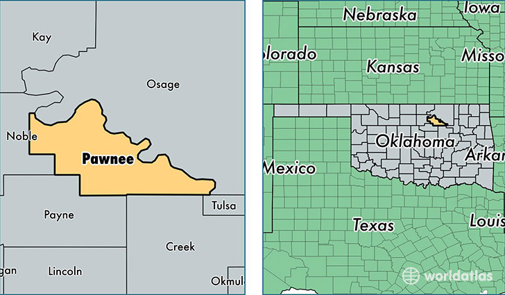 State Map Of Kansas And Oklahoma.Pawnee County Oklahoma Map Of Pawnee County Ok Where Is Pawnee