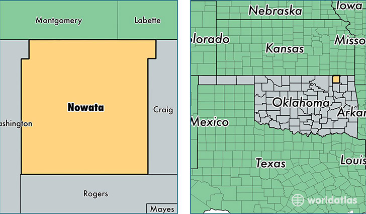 location of Nowata county on a map
