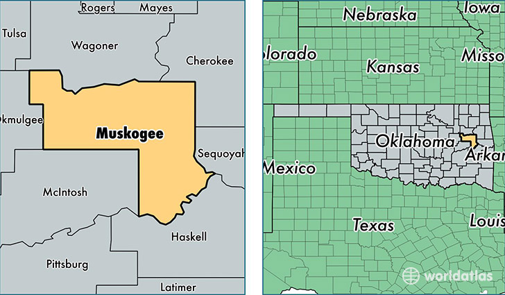 location of Muskogee county on a map