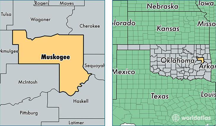 Muskogee County Oklahoma Map of Muskogee County OK Where is