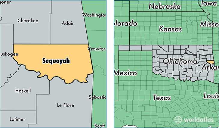 Sequoyah County Oklahoma Map Of Sequoyah County OK Where Is - Counties of oklahoma map