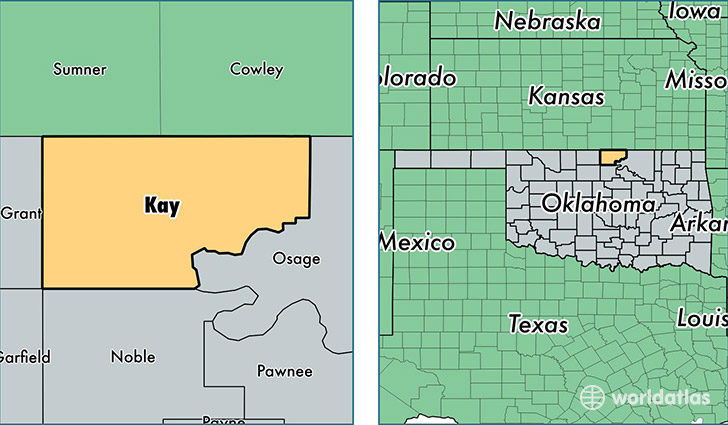 location of Kay county on a map