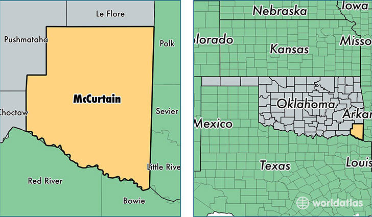 location of McCurtain county on a map