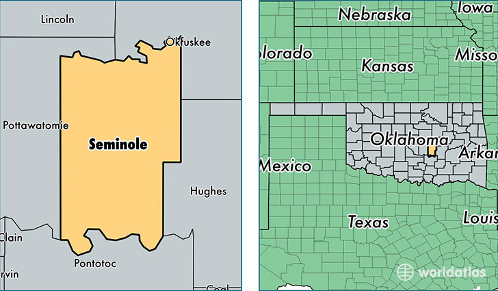 Seminole County Oklahoma Map Of Seminole County OK Where Is - Oklahoma counties map