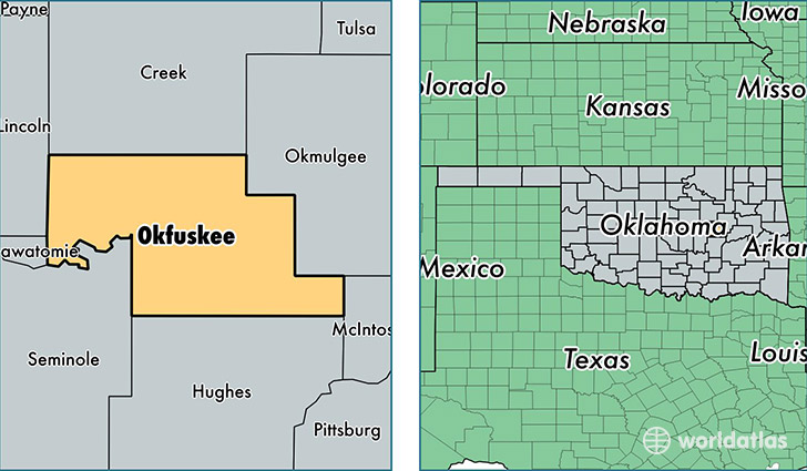 location of Okfuskee county on a map