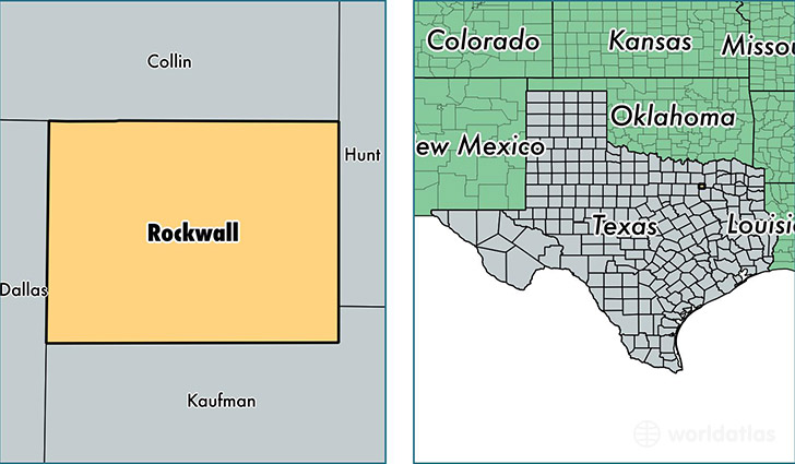 location of Rockwall county on a map
