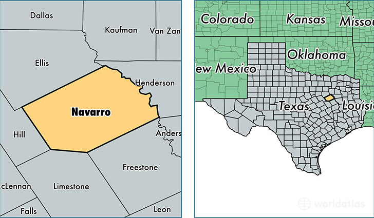 location of Navarro county on a map