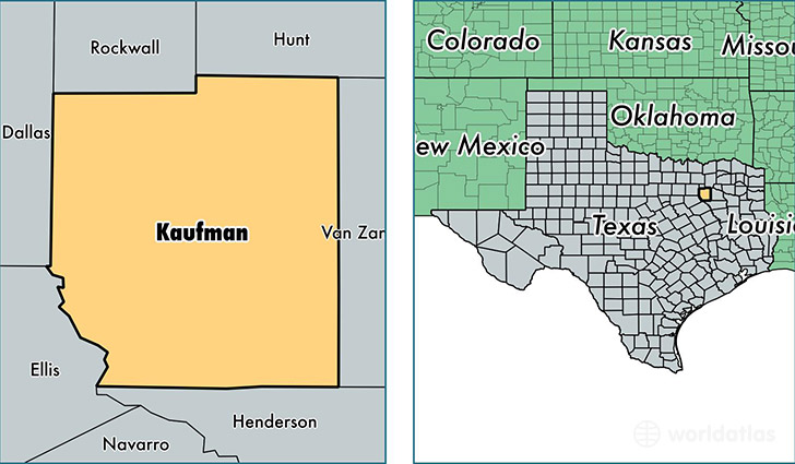 location of Kaufman county on a map