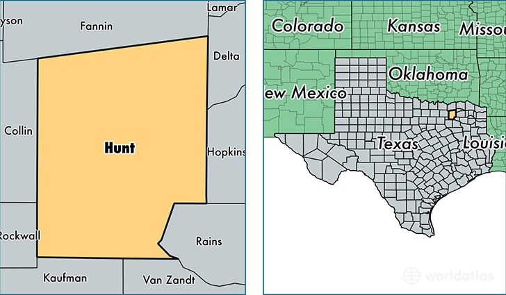 location of Hunt county on a map