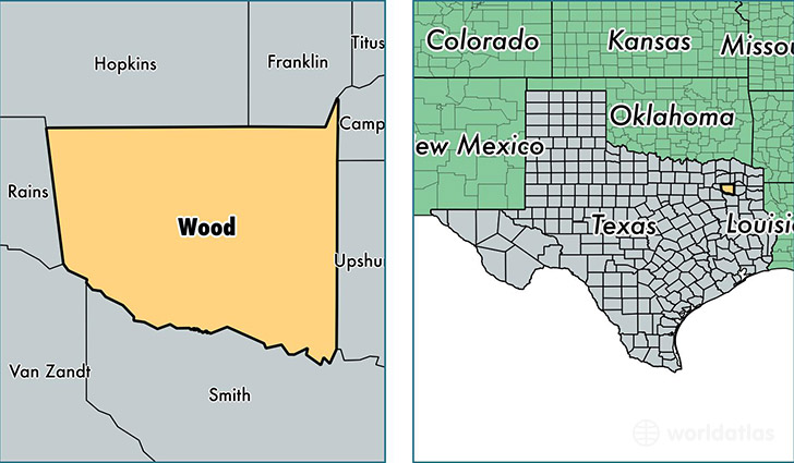 location of Wood county on a map
