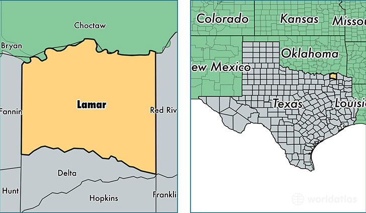 location of Lamar county on a map