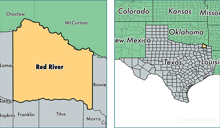 location of red river county on a map