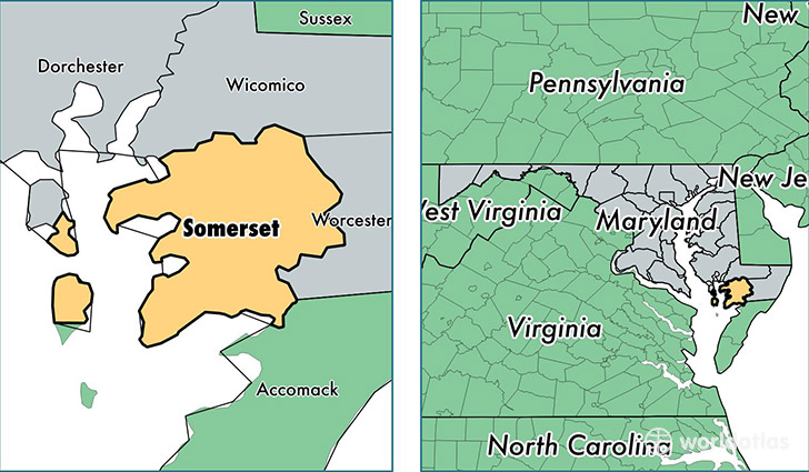 Somerset County Maryland Map of Somerset County MD Where is
