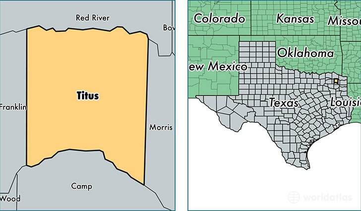 location of Titus county on a map