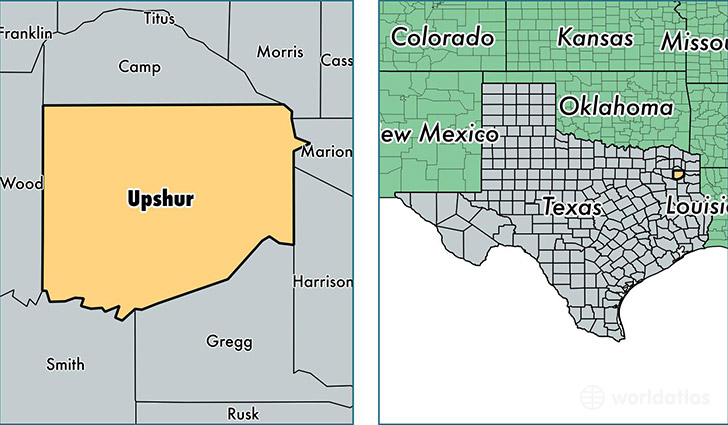 location of Upshur county on a map