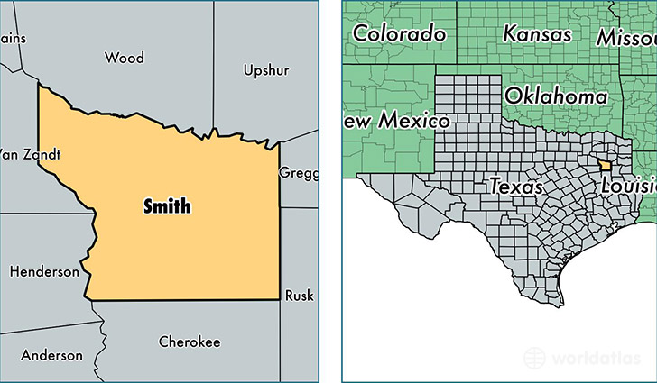 location of Smith county on a map