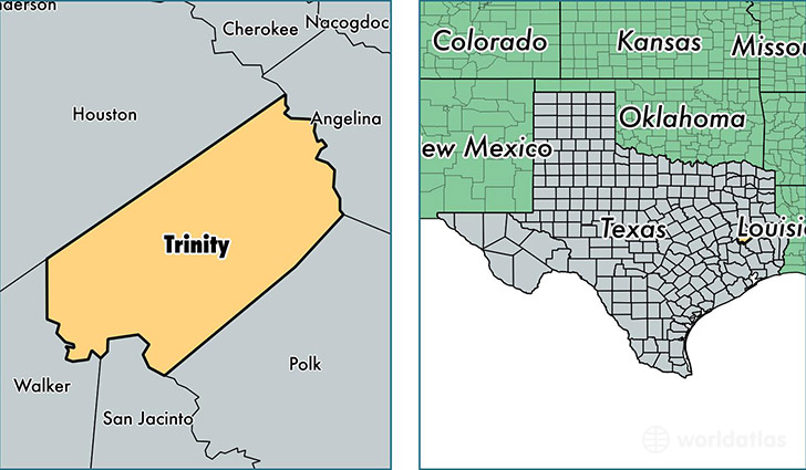 location of Trinity county on a map