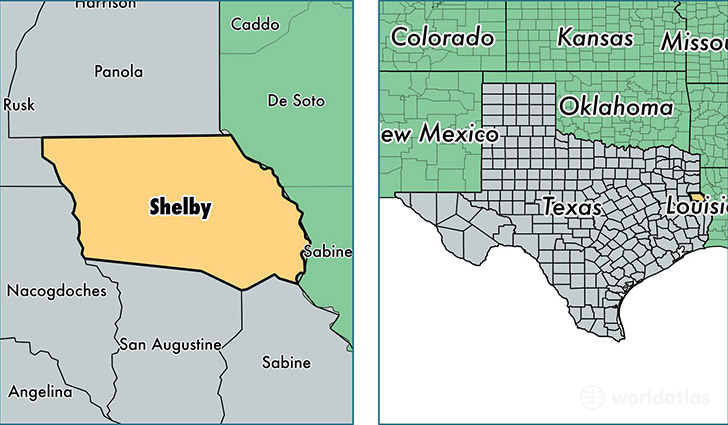 Shelby County Texas Map Of Shelby County Tx Where Is