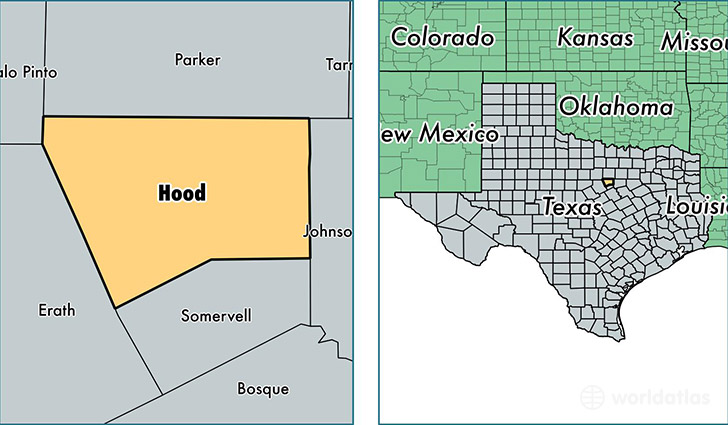 location of Hood county on a map