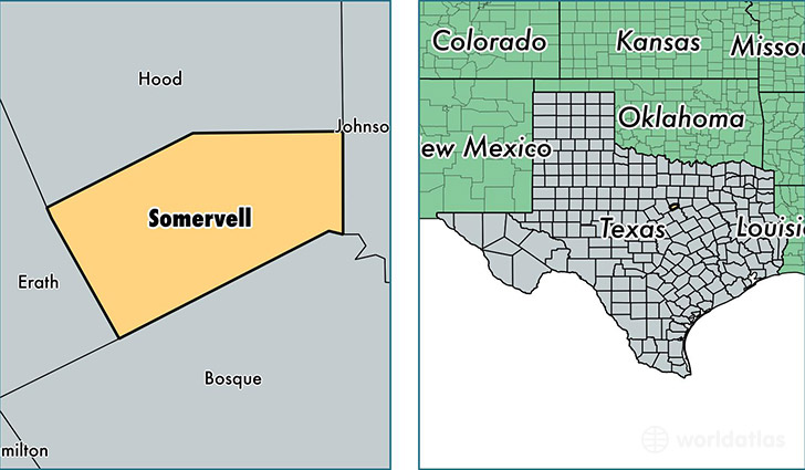 location of Somervell county on a map