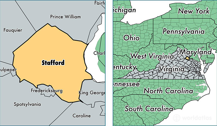 location of Stafford county on a map