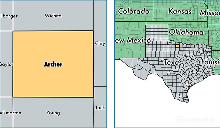location of Archer county on a map