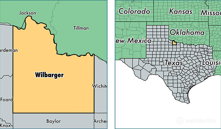 location of Wilbarger county on a map