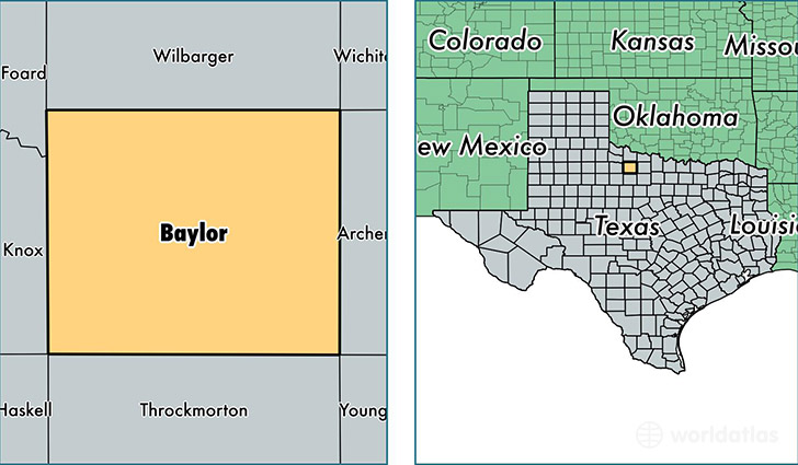 location of Baylor county on a map