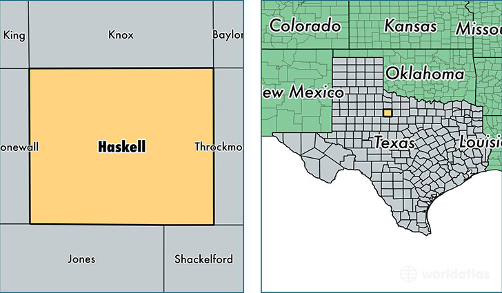 location of Haskell county on a map
