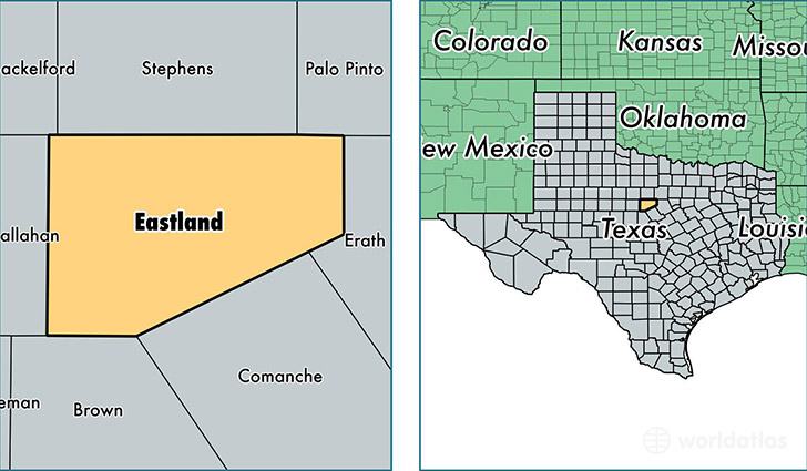 location of Eastland county on a map