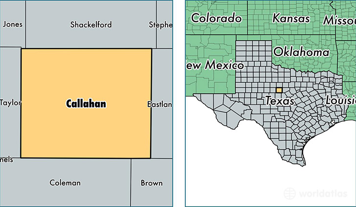 location of Callahan county on a map