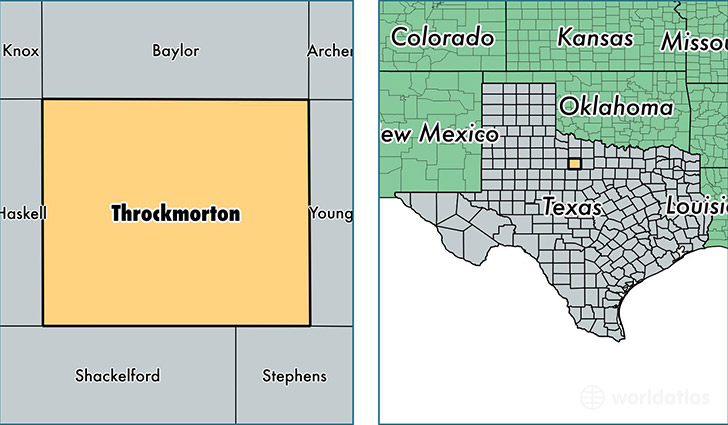 location of Throckmorton county on a map