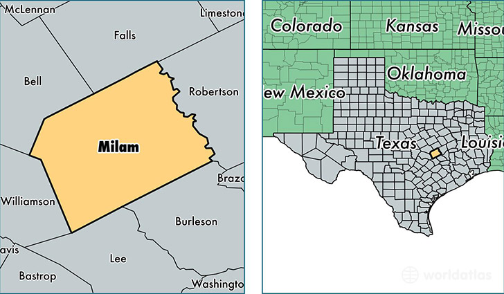 location of Milam county on a map