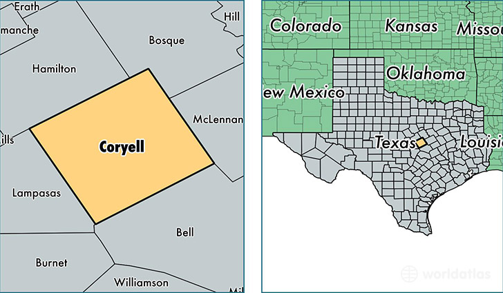 location of Coryell county on a map