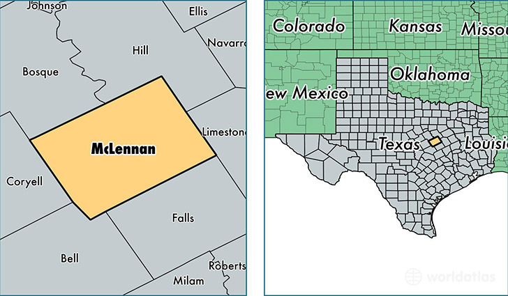 location of McLennan county on a map