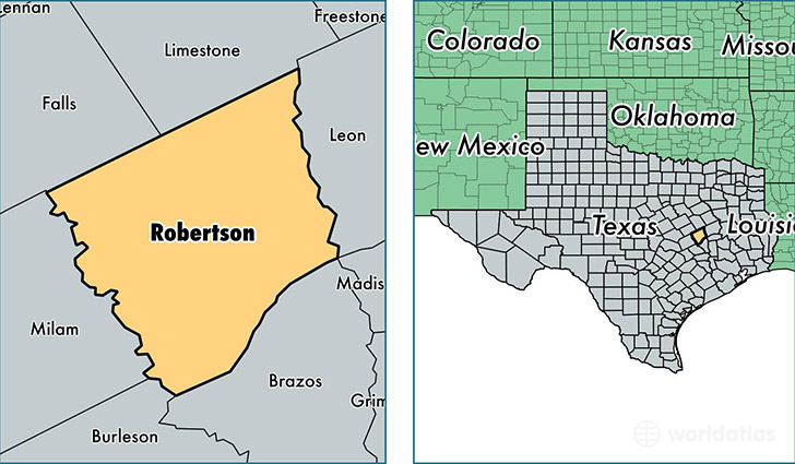location of Robertson county on a map